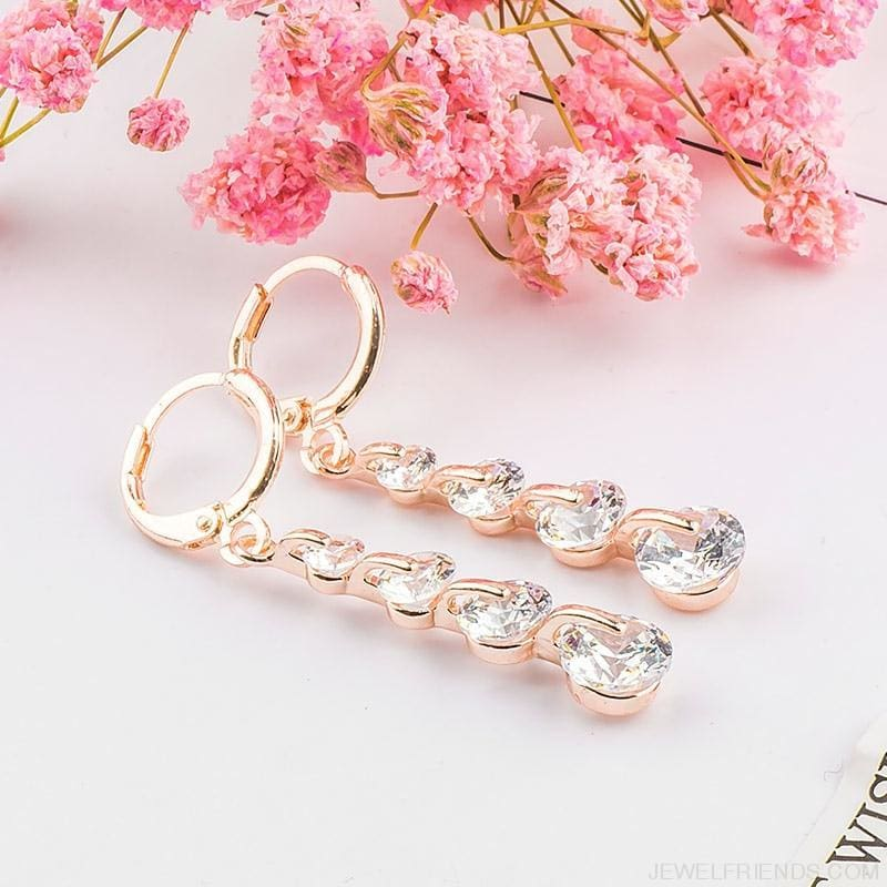 Rose Gold Color Drop Zirconia Earrings - Custom Made | Free Shipping