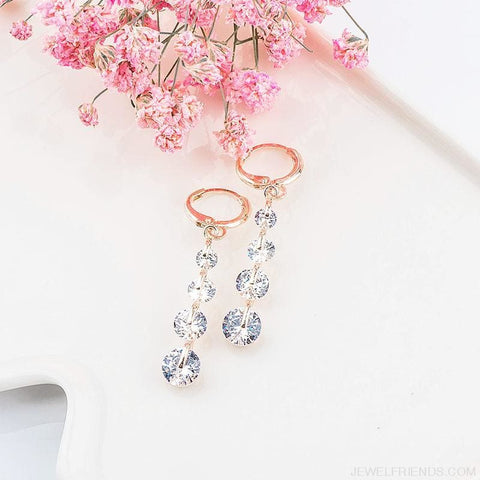 Image of Rose Gold Color Drop Zirconia Earrings - Custom Made | Free Shipping