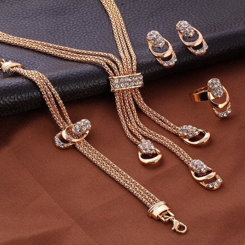 Rose Gold Crystal Necklace Earring Bracelet Ring Set - Custom Made | Free Shipping