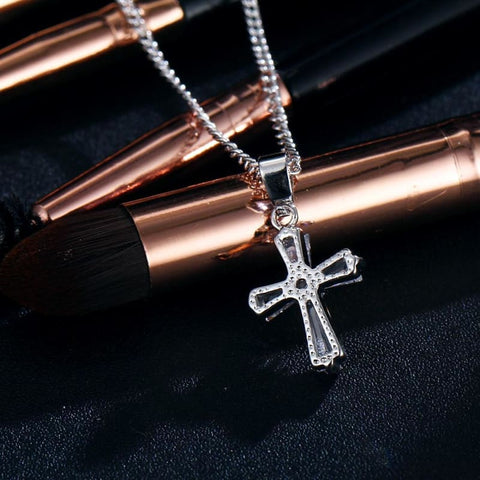 Image of Rose Gold Cubic Zirconia Cross Pendant Necklace - Custom Made | Free Shipping