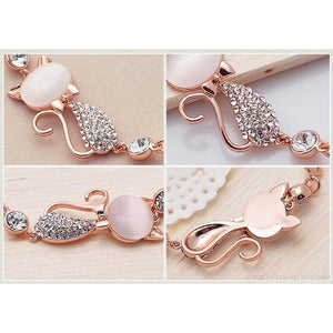 Rose Gold Cute Zircon Cat Bracelets