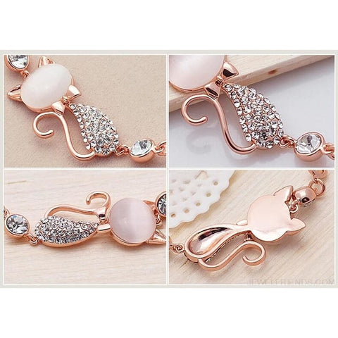 Image of Rose Gold Cute Zircon Cat Bracelets - Custom Made | Free Shipping