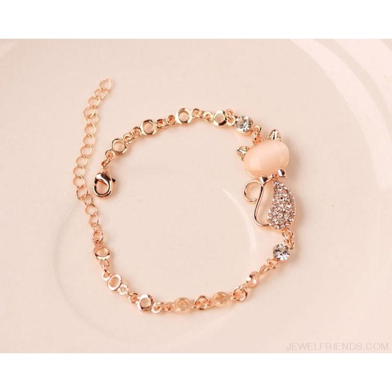 Rose Gold Cute Zircon Cat Bracelets - Custom Made | Free Shipping