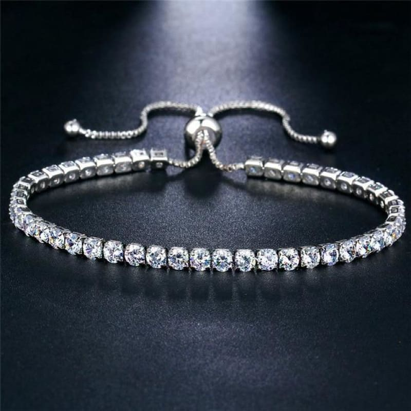 Rose Gold/silver Color Cubic Zirconia Tennis Bracelet - Bjcs71025 - Custom Made | Free Shipping