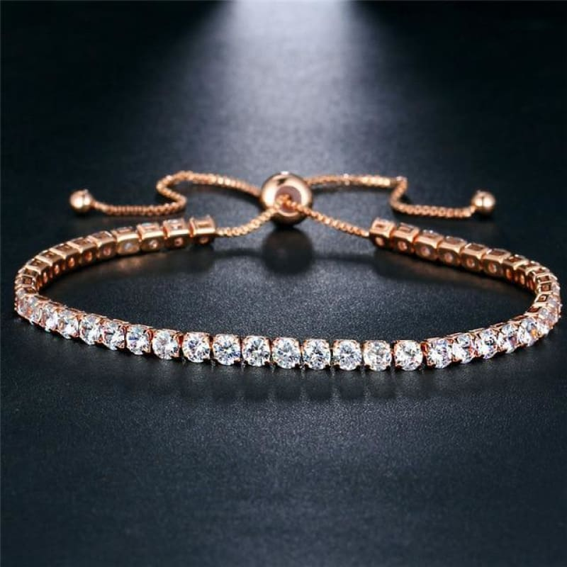 Rose Gold/silver Color Cubic Zirconia Tennis Bracelet - Bjcs71051 - Custom Made | Free Shipping