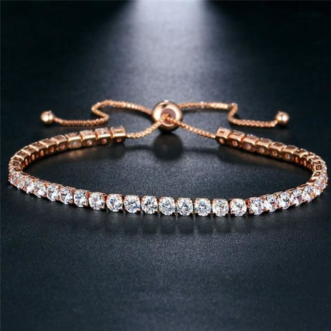 Image of Rose Gold/silver Color Cubic Zirconia Tennis Bracelet - Bjcs71051 - Custom Made | Free Shipping