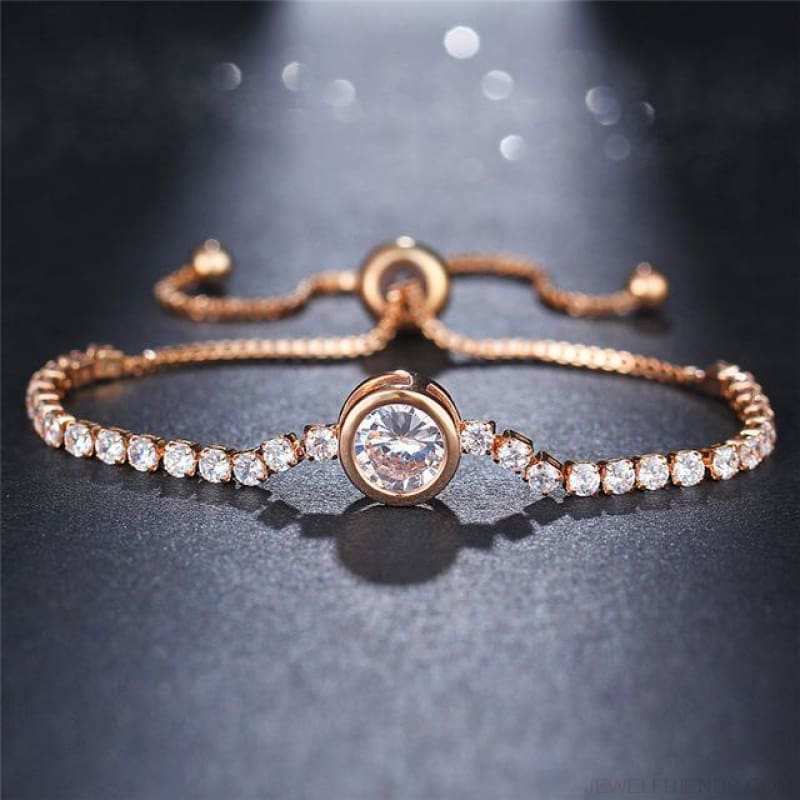 Rose Gold/silver Color Cubic Zirconia Tennis Bracelet - Fcs26051 - Custom Made | Free Shipping