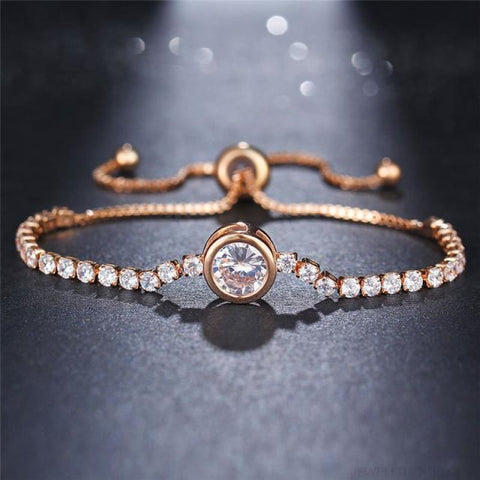Image of Rose Gold/silver Color Cubic Zirconia Tennis Bracelet - Fcs26051 - Custom Made | Free Shipping