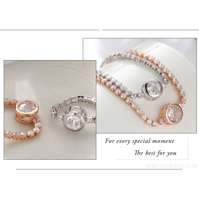 Rose Gold/silver Color Cubic Zirconia Tennis Bracelet - Custom Made | Free Shipping