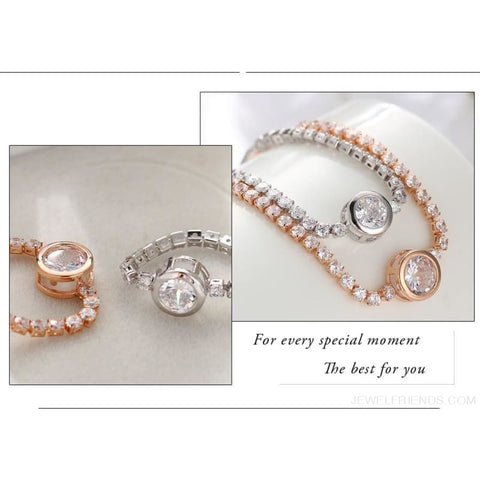 Image of Rose Gold/silver Color Cubic Zirconia Tennis Bracelet - Custom Made | Free Shipping