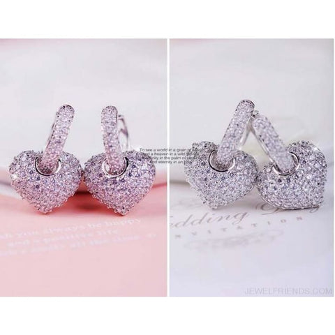Image of Rose/white Gold Color Heart Design Zirconia Hoop Earrings - Custom Made | Free Shipping