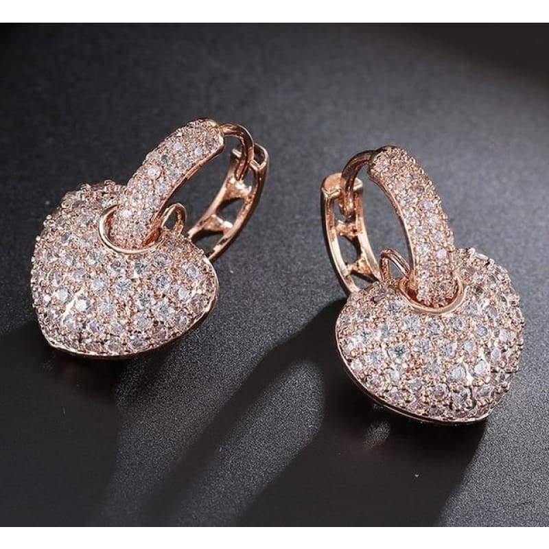 Rose/white Gold Color Heart Design Zirconia Hoop Earrings - Rose Gold Color / Clear - Custom Made | Free Shipping