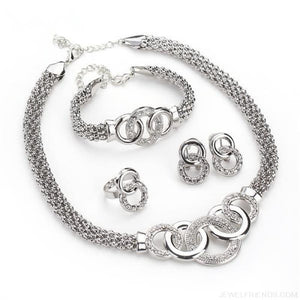 Round Crystal Dubai Bridal Jewelry Set