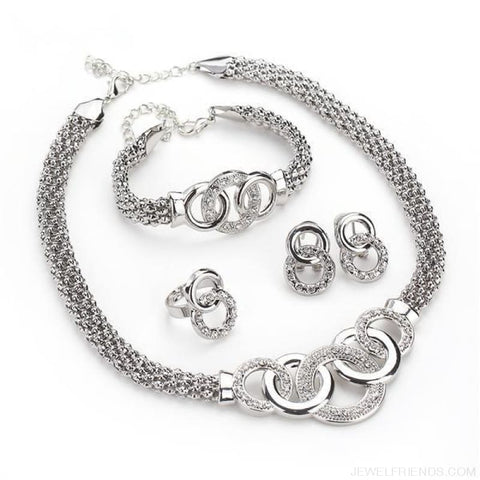 Image of Round Crystal Dubai Bridal Jewelry Set - Custom Made | Free Shipping