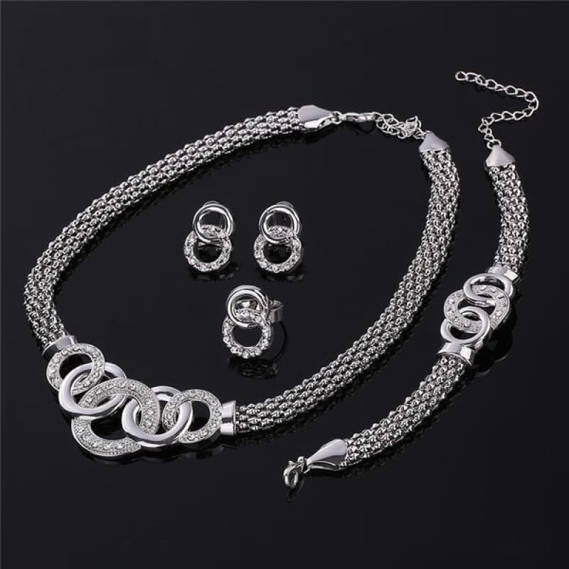 Round Crystal Dubai Bridal Jewelry Set - Custom Made | Free Shipping