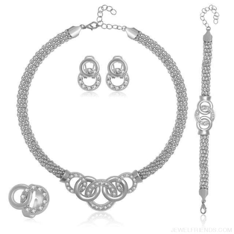 Round Crystal Dubai Bridal Jewelry Set - W4135 - Custom Made | Free Shipping