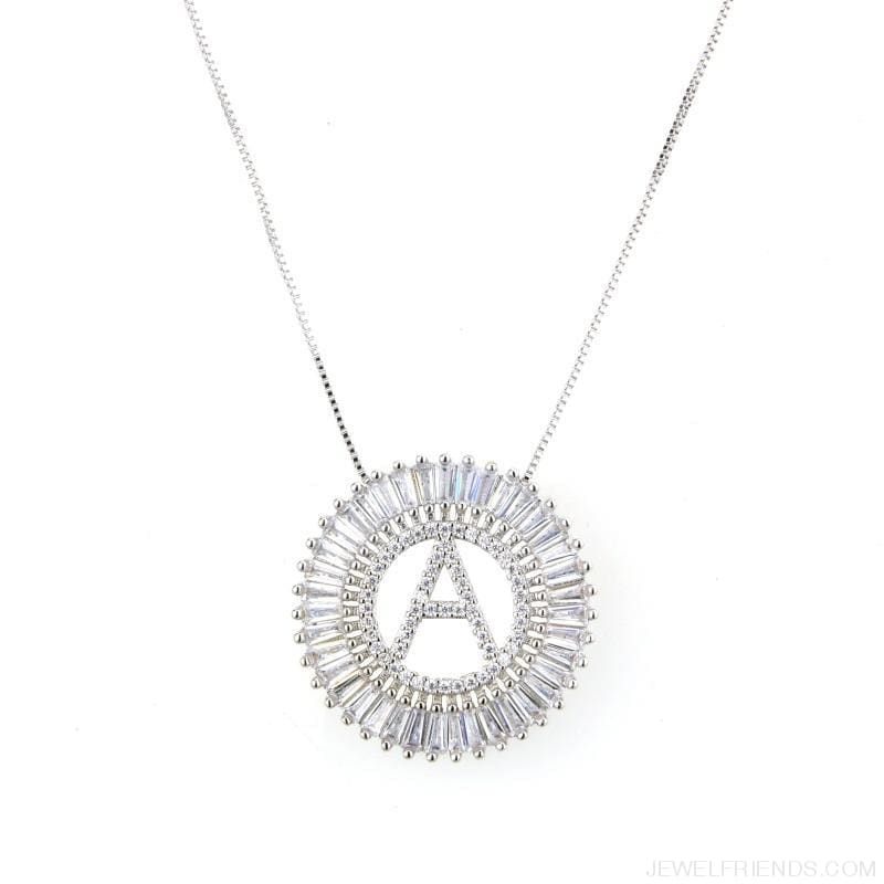 Round Cubic Zirconia A-Z Letters Pendant Necklaces - Custom Made | Free Shipping