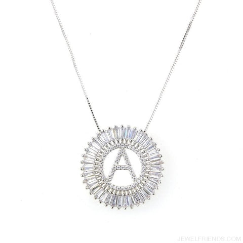 Image of Round Cubic Zirconia A-Z Letters Pendant Necklaces - Custom Made | Free Shipping