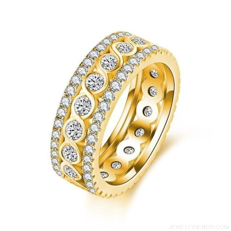 Round Pattern Rings Engagement - 10 / 18K Gold Color - Custom Made | Free Shipping