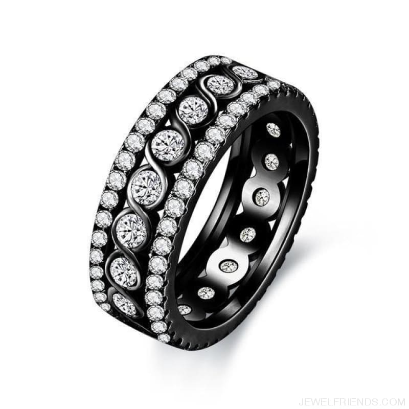 Round Pattern Rings Engagement - 10 / Black Gold Color - Custom Made | Free Shipping