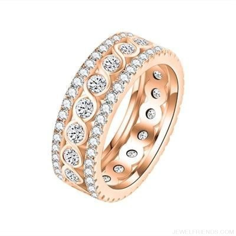 Round Pattern Rings Engagement - 10 / Rose Gold Color - Custom Made | Free Shipping