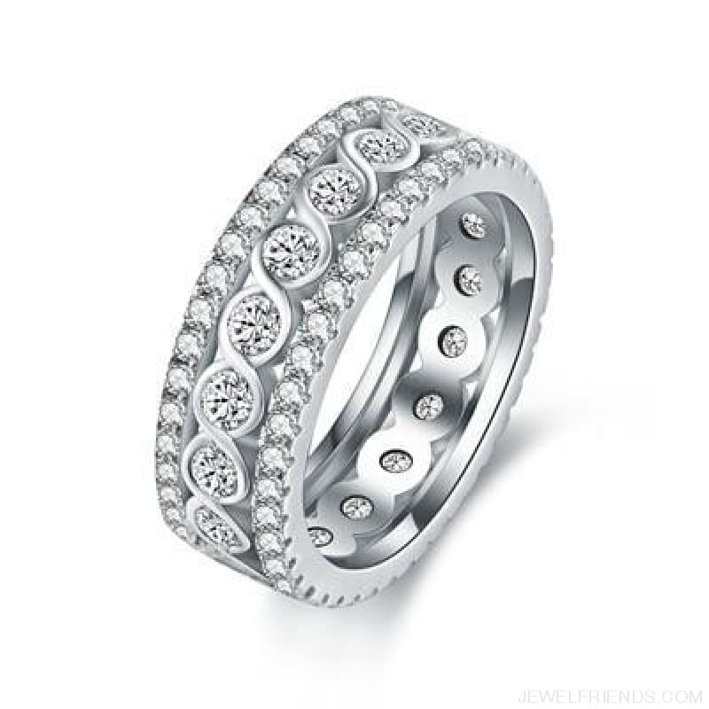 Round Pattern Rings Engagement - 10 / White Gold Color - Custom Made | Free Shipping