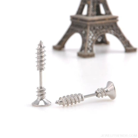 Screw Stud Earrings - Silver Plated - Custom Made | Free Shipping