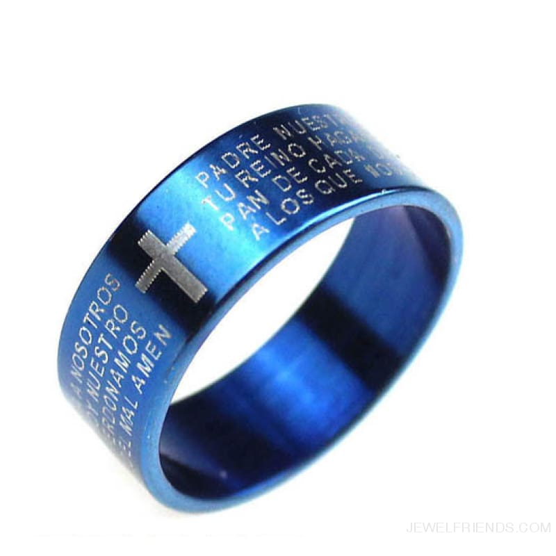 Scripture Cross Bible Text Jesus Tattoo Rings Titanium Steel - 19 / Blue - Custom Made | Free Shipping