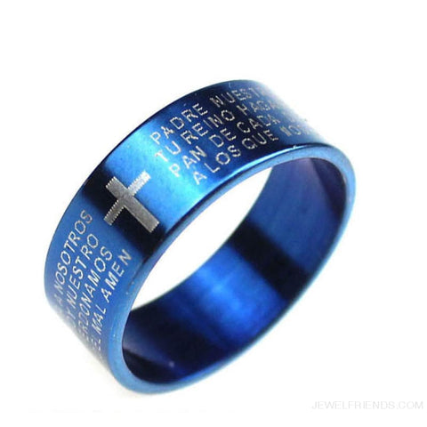 Image of Scripture Cross Bible Text Jesus Tattoo Rings Titanium Steel - 19 / Blue - Custom Made | Free Shipping