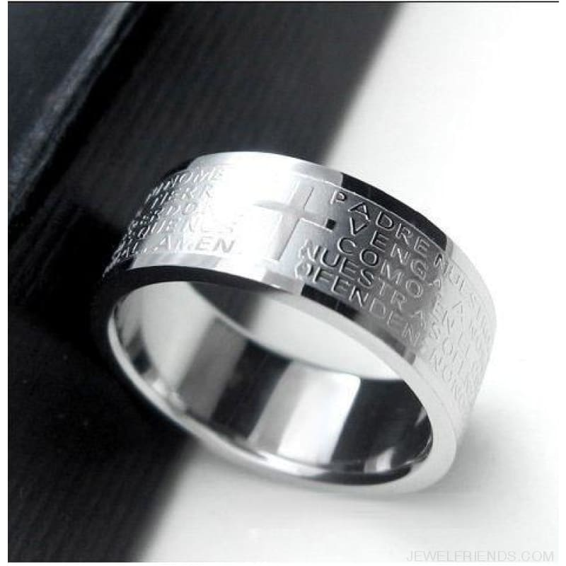 Scripture Cross Bible Text Jesus Tattoo Rings Titanium Steel - 19 / Silver - Custom Made | Free Shipping