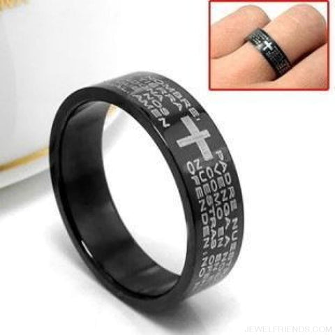 Image of Scripture Cross Bible Text Jesus Tattoo Rings Titanium Steel - Custom Made | Free Shipping
