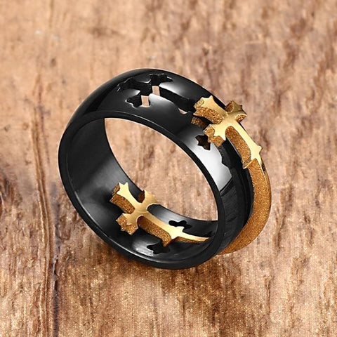 Image of Separable Cross Black Ring - Custom Made | Free Shipping