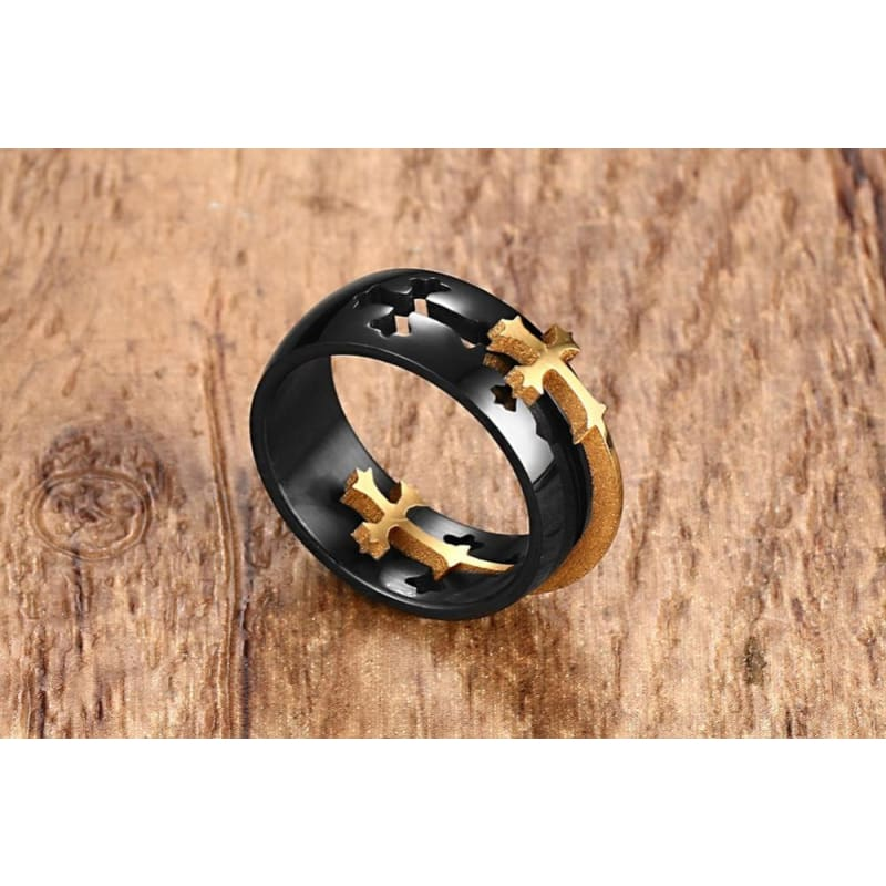Separable Cross Black Ring - Custom Made | Free Shipping