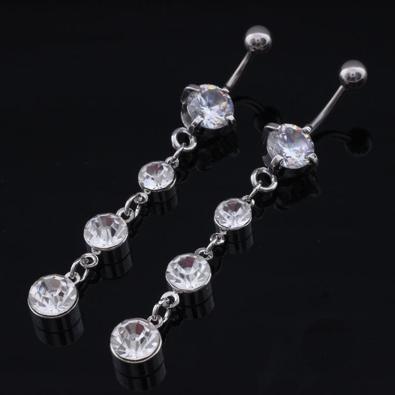 Sexy Stainless Steel Silver Crystal Navel Piercing - Custom Made | Free Shipping