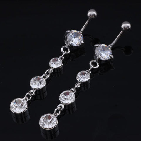 Image of Sexy Stainless Steel Silver Crystal Navel Piercing - Custom Made | Free Shipping