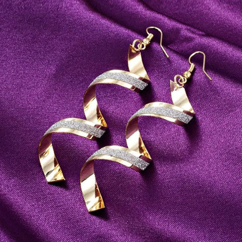Image of Shiny Spiral Long Earrings - Custom Made | Free Shipping