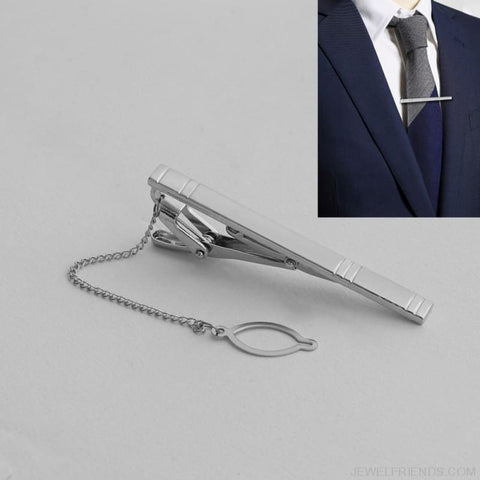 Image of Silver Alloy Metal Tie Clip - Custom Made | Free Shipping