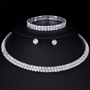 Silver Color Circle Crystal Jewelry Sets - Double Row - Custom Made | Free Shipping