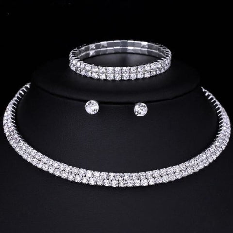 Image of Silver Color Circle Crystal Jewelry Sets - Double Row - Custom Made | Free Shipping