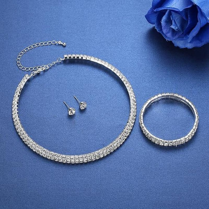 Silver Color Circle Crystal Jewelry Sets - Custom Made | Free Shipping