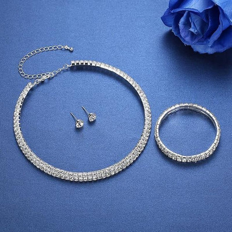 Image of Silver Color Circle Crystal Jewelry Sets - Custom Made | Free Shipping