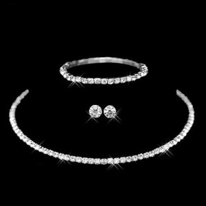 Silver Color Circle Crystal Jewelry Sets