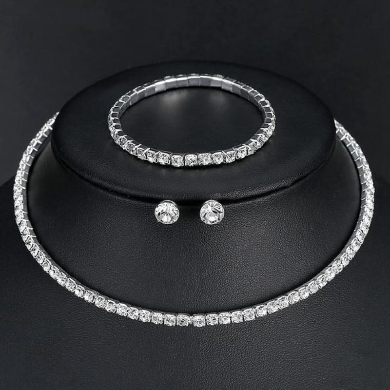 Silver Color Circle Crystal Jewelry Sets - Single Row - Custom Made | Free Shipping
