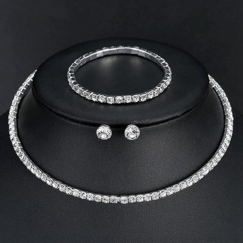 Image of Silver Color Circle Crystal Jewelry Sets - Single Row - Custom Made | Free Shipping