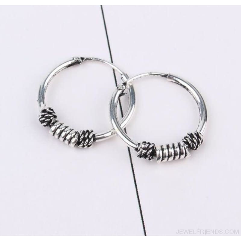Silver Color Circle Rope Wrap Earrings - 1 - Custom Made | Free Shipping