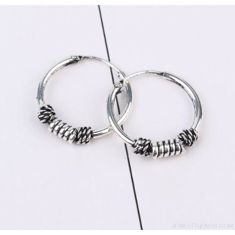 Image of Silver Color Circle Rope Wrap Earrings - 1 - Custom Made | Free Shipping