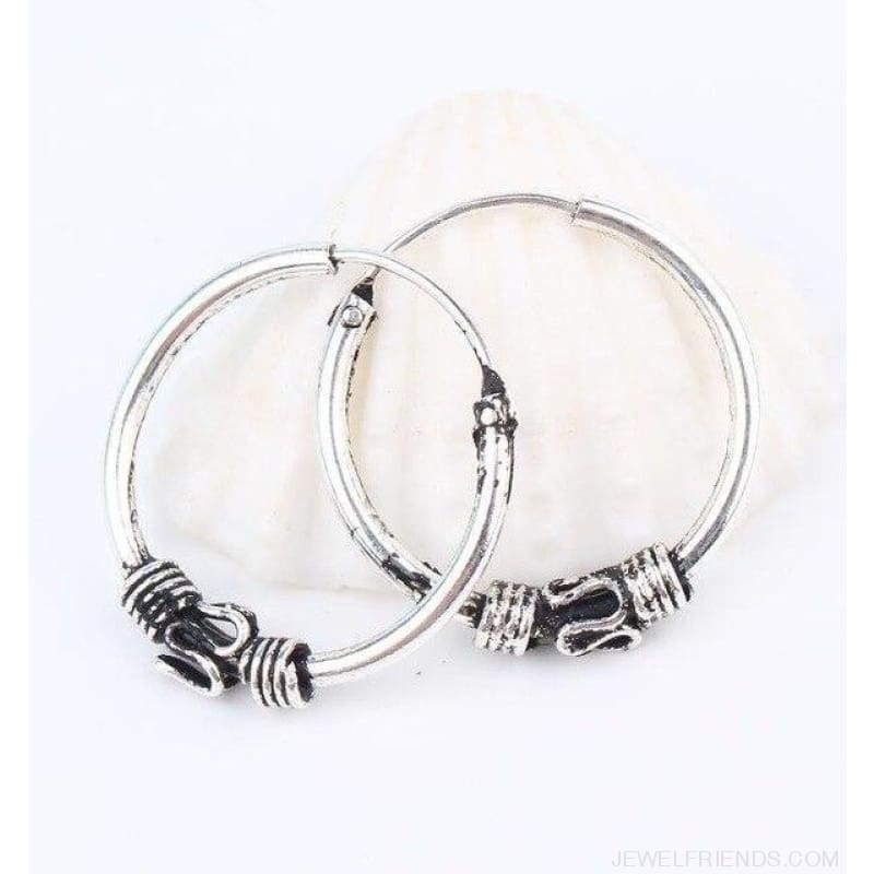 Silver Color Circle Rope Wrap Earrings - 2 - Custom Made | Free Shipping