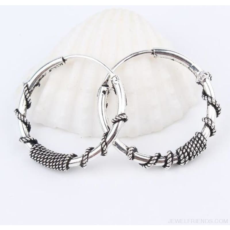 Silver Color Circle Rope Wrap Earrings - 3 - Custom Made | Free Shipping