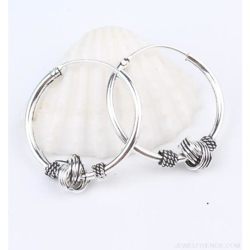 Silver Color Circle Rope Wrap Earrings - 4 - Custom Made | Free Shipping