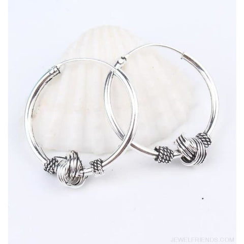 Image of Silver Color Circle Rope Wrap Earrings - 4 - Custom Made | Free Shipping
